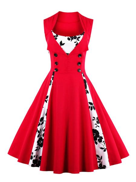Milanoo Vestido vintage rojo con escote cuadrado sin mangas con estampado de flores de moda