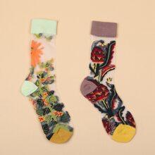 2 Paare Socken mit Blumen Muster und Netzstoff