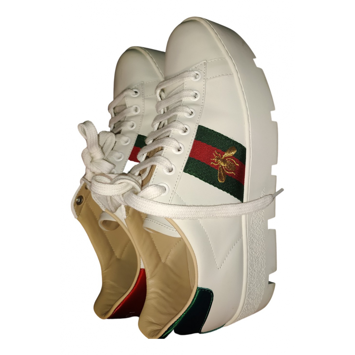 Gucci Ace White Leather Trainers for Women 37.5 IT