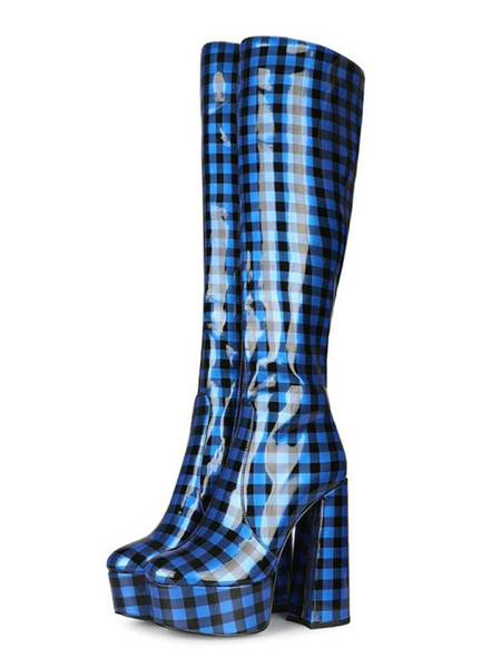Milanoo Knee-High Boots Blue Round Toe Chunky Heel Plaid Pattern High Heel Winter Boots