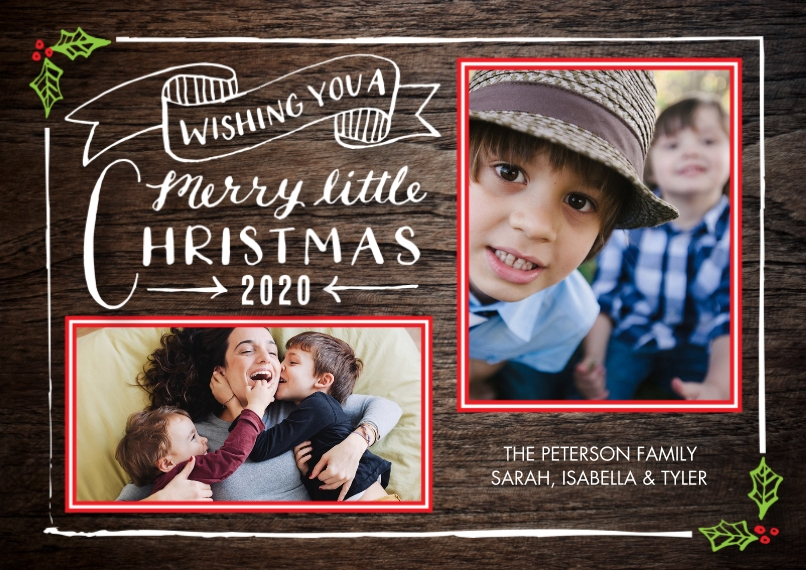 Christmas Photo Cards 5x7 Cards, Premium Cardstock 120lb with Scalloped Corners, Card & Stationery -2020 Christmas Rustic Banner by Tumbalina