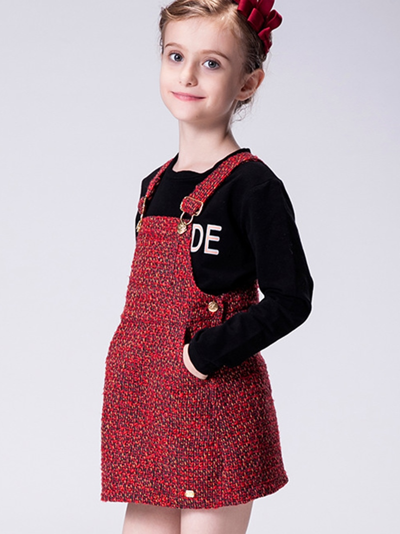 Ericdress Suspender Wave Strips Metal Button Girls Dress