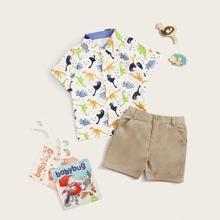 Toddler Boys All Over Cartoon Dinosaur Graphic Shirt & Shorts