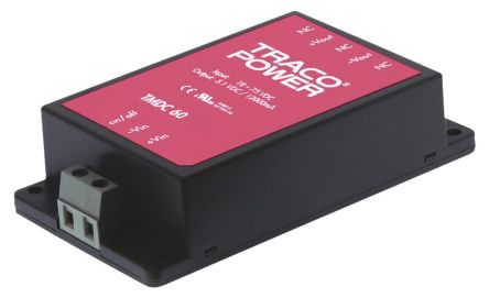 TRACOPOWER TMDC 60 60W Isolated DC-DC Converter Chassis Mount, Voltage in 9 → 36 V dc, Voltage out 48V dc