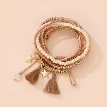9 Stuecke Armband mit Quasten Dekor und Perlen