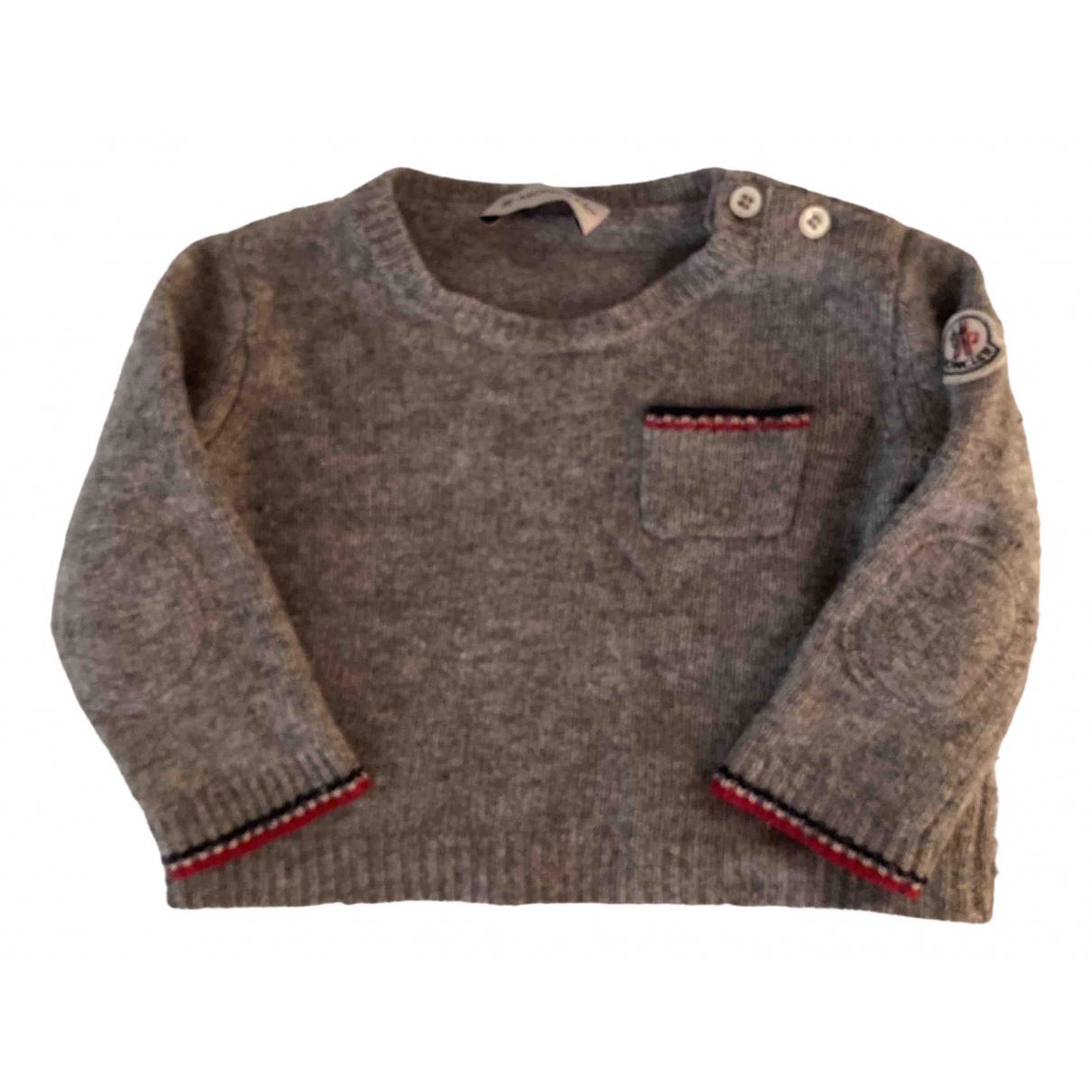 Moncler - Pull   pour enfant en laine - gris