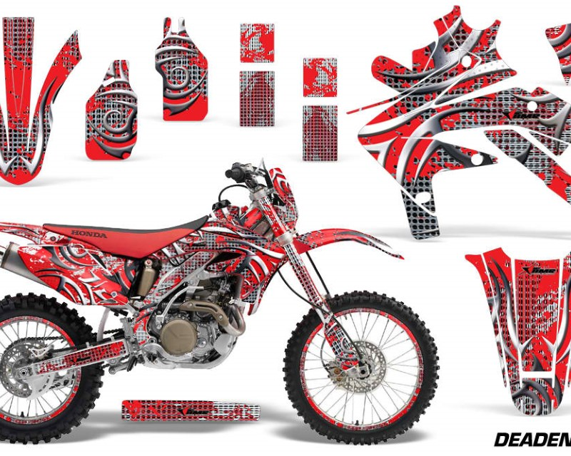 AMR Racing Decal Graphics Kit Sticker Wrap + # Plates For Honda CRF450X 2005-2016 DEADEN RED