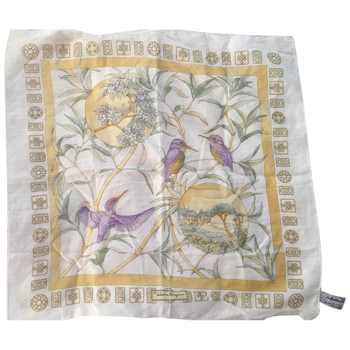 Salvatore Ferragamo - Foulard   pour femme en coton - blanc