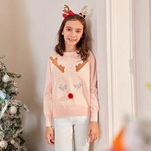 Jersey de navidad con lentejuelas con pompon