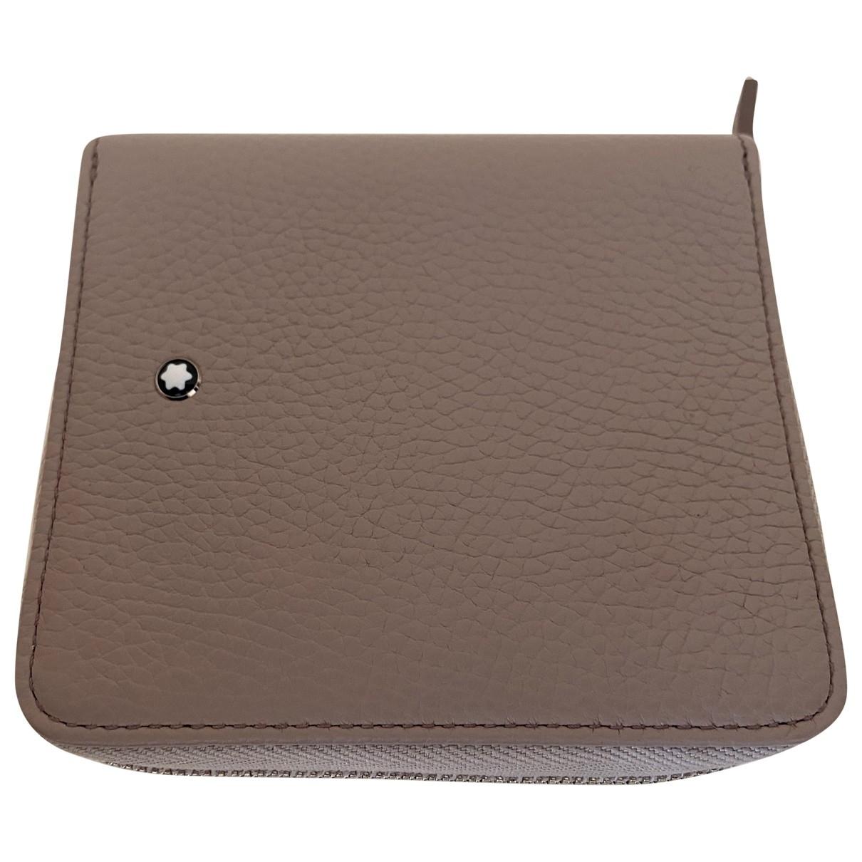 Montblanc - Portefeuille   pour femme en cuir - beige