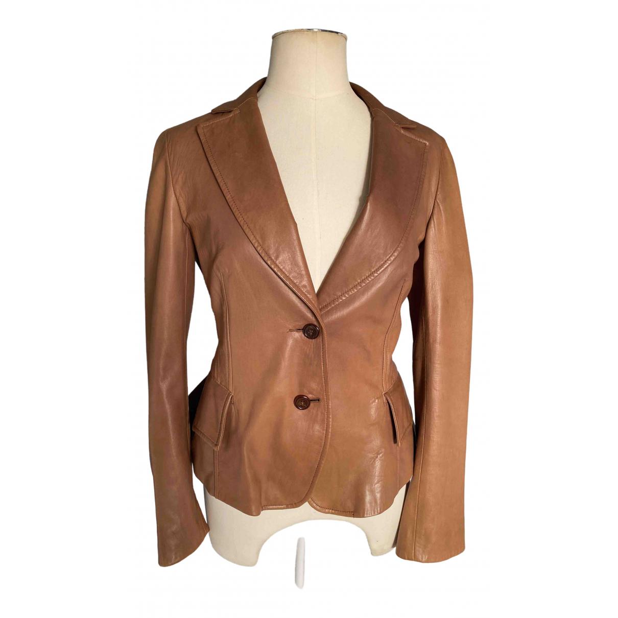 Nicole Farhi - Blouson   pour femme en cuir - marron