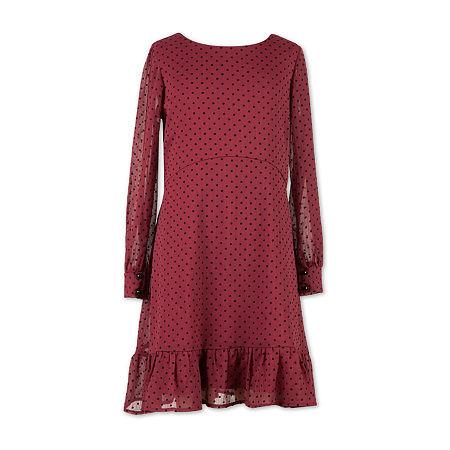 Speechless Big Girls Long Sleeve Skater Dress, 16 , Red