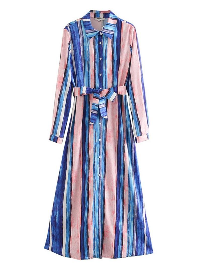Ericdress Long Sleeve Lapel Mid-Calf Regular Dress