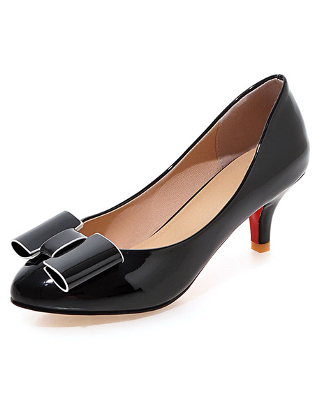 Milanoo Black Pointed Toe PU High Heels For Women