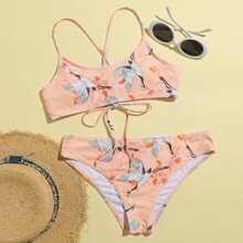 Crane & Floral Lace-up Bikini Swimsuit