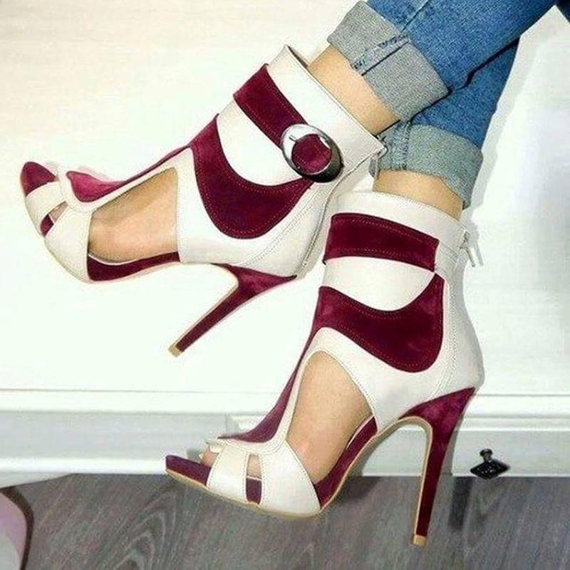 Ericdress Hollow Buckle Peep Toe Stiletto Sandals