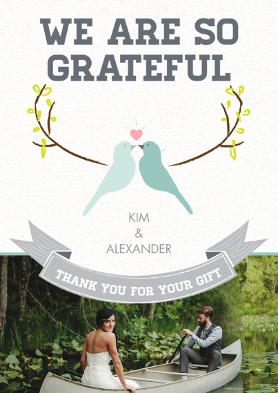 Wedding Thank You Mail-for-Me Premium 5x7 Flat Card, Card & Stationery -Lovebirds Thank You