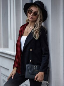Contrast Gingham Double-breasted Blazer