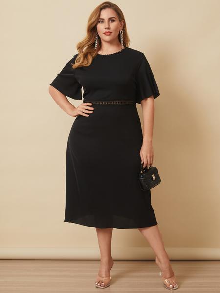 Yoins Plus Size Crew Neck Hollow Design Short Sleeves Midi Dress