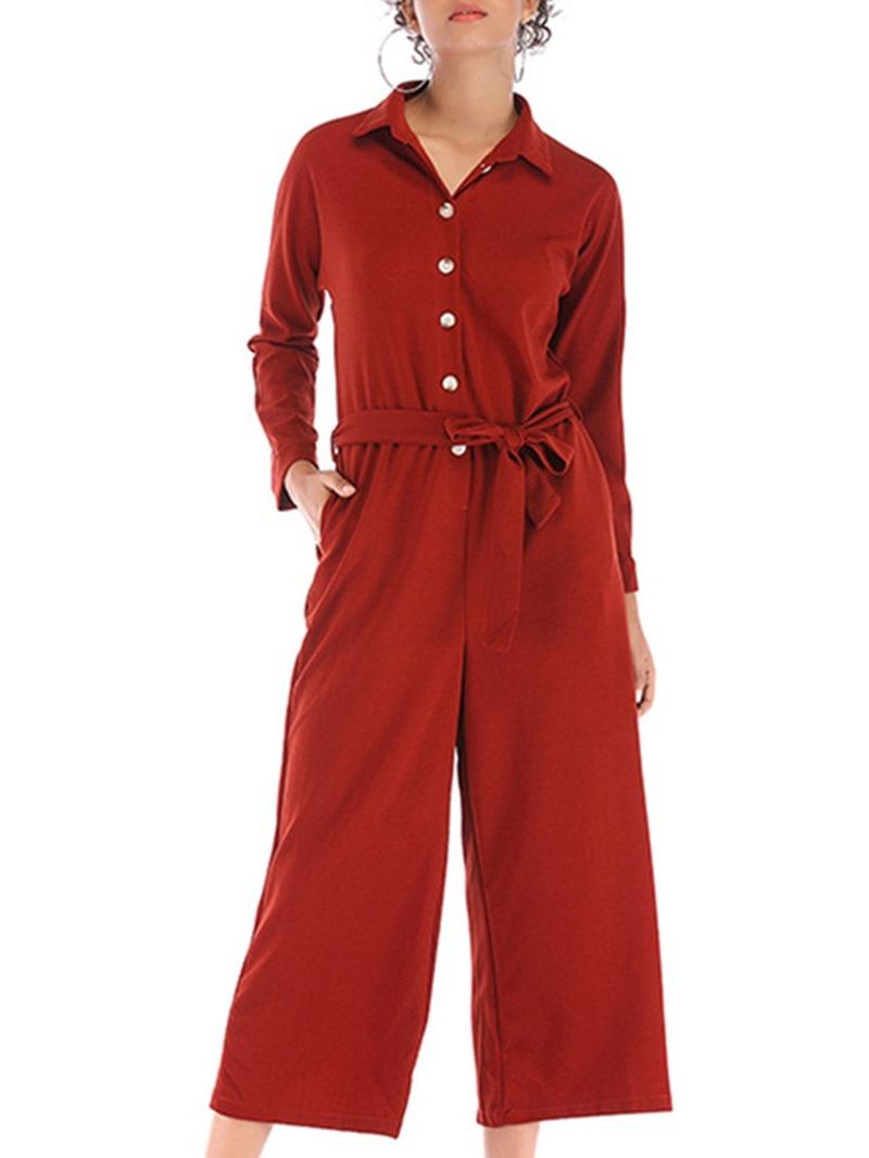 Ericdress Plain Lace-Up Mid-Calf Loose Women's Jumpsuit
