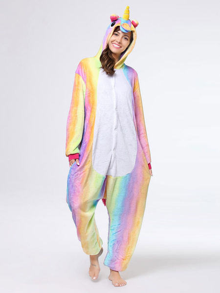 Milanoo Rainbow Unicorn Kigurumi Pajamas Onesie For Adults Unisex Winter Sleepwear Animal Halloween Costume