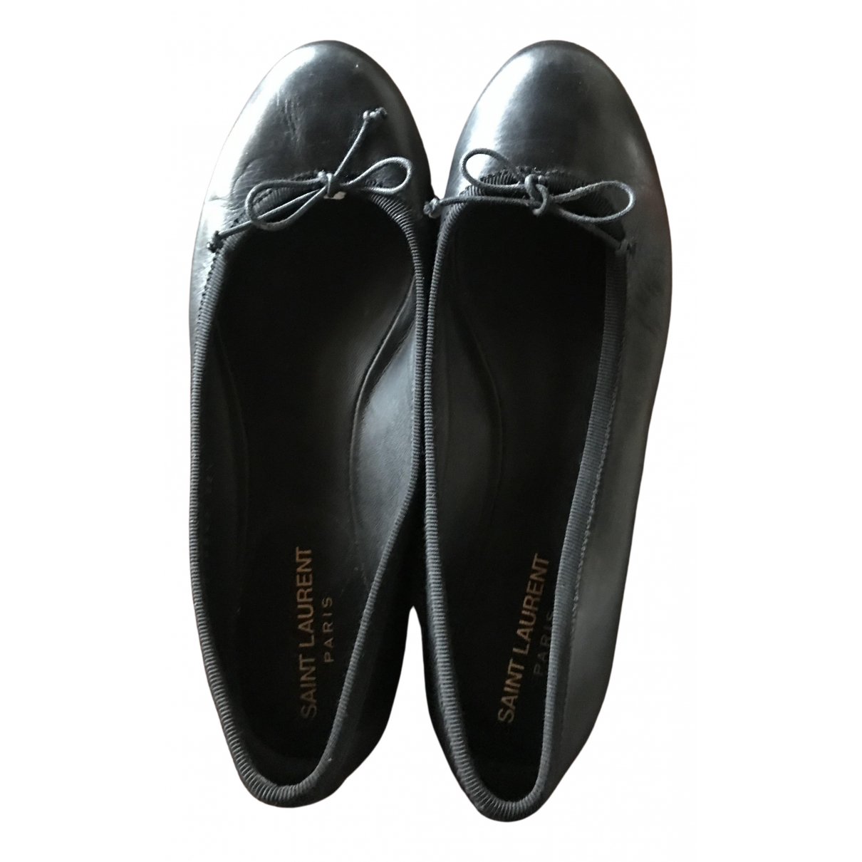Saint Laurent - Ballerines   pour femme en cuir - noir