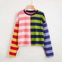 Camiseta de color combinado de hombros caidos ribete con costura