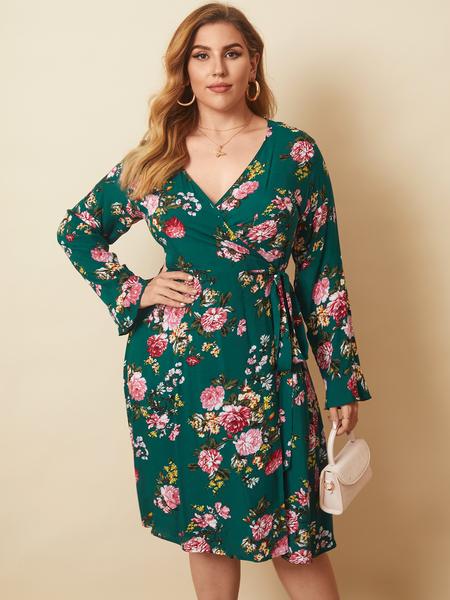 YOINS Plus Size V-neck Floral Print Wrap design Long Sleeves Midi Dress