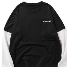 Men 2 In 1 Letter Graphic Flap Pocket Tee