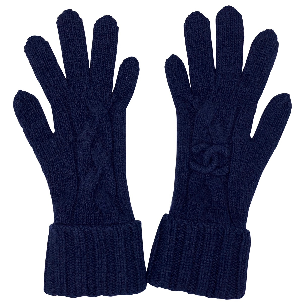 Chanel \N Navy Cashmere Gloves for Women M International