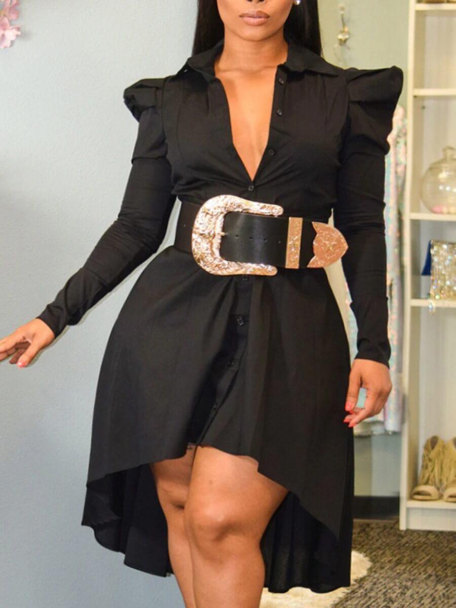 LW Lovely Stylish Turndown Collar Asymmetrical Black Knee Length Plus Size Dress