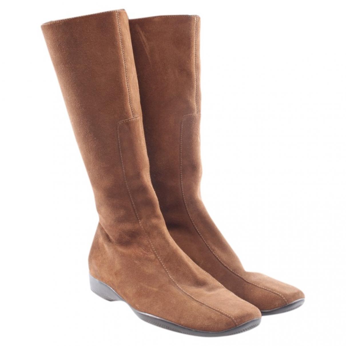 Prada - Bottes   pour femme en suede - marron