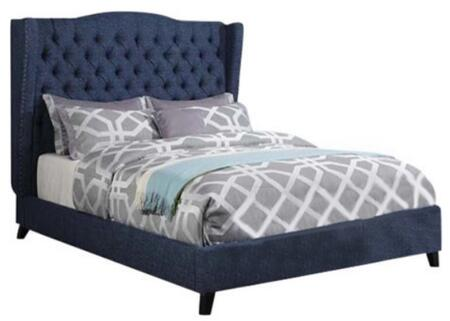 Faye Collection 20880Q Queen Size Bed with Wingback Headboard  Nail Head Trim  Espresso Tapered Legs  Button Tufted Headboard and Linen Upholstery in