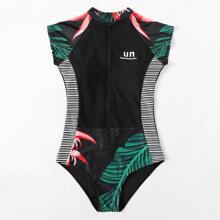 Tropical Zip-up Surfing Swimsuit