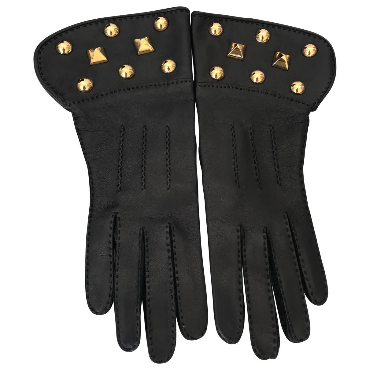Hermes \N Handschuhe in  Schwarz Leder