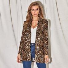 Notch Collar Leopard Blazer
