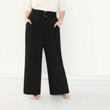 Pantalones anchos lisos con cinturon