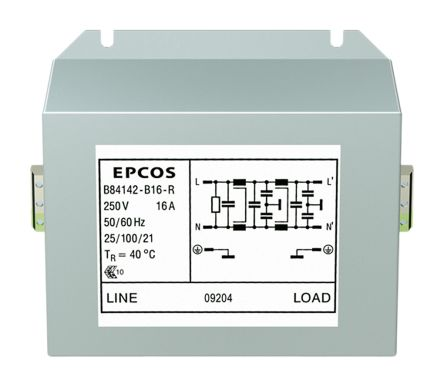 EPCOS , B84142B*R000 12A 250 V ac 60Hz, Screw Mount RFI Filter, Terminal Block, Single Phase