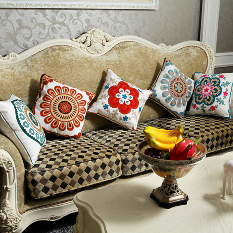 Embroidery Pattern Pillow Case Cotton Decorative Pillowcases Throw Pillow Cover Square 45*45cm