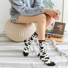 2pairs Cow Print Socks