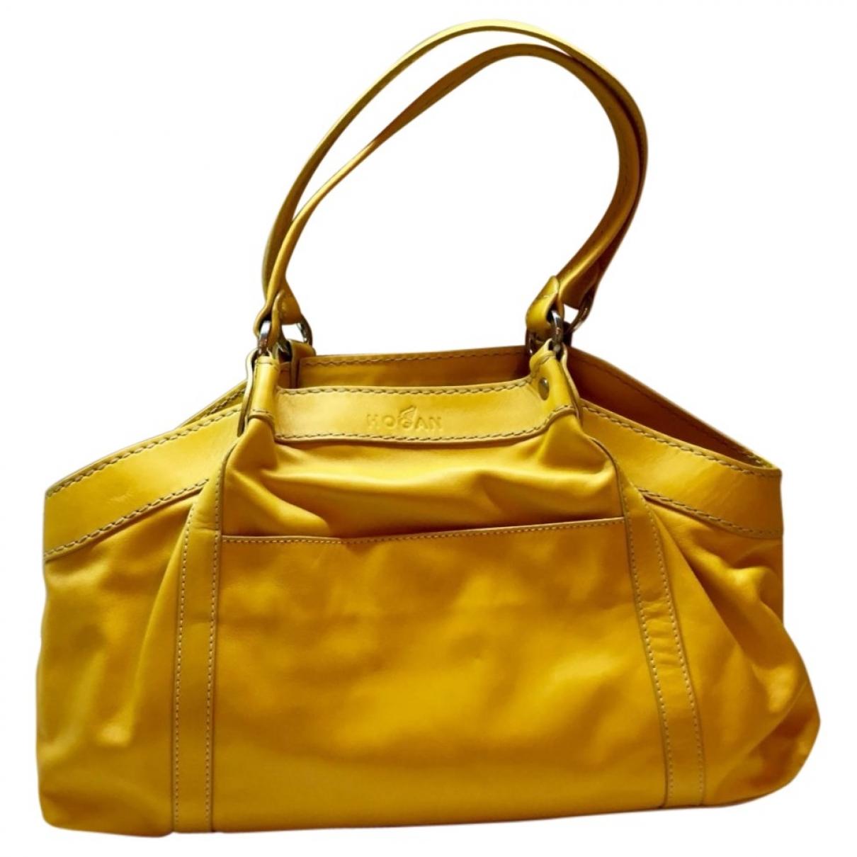 Hogan - Sac a main   pour femme en cuir - jaune