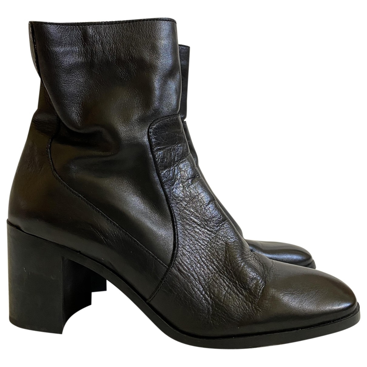 Zara \N Black Leather Ankle boots for Women 42 EU