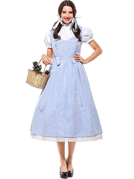 Milanoo Halloween Costumes Women\'s Wizard Sweet Dress Light Sky Blue Polyester Stripes Halloween Holidays Costumes