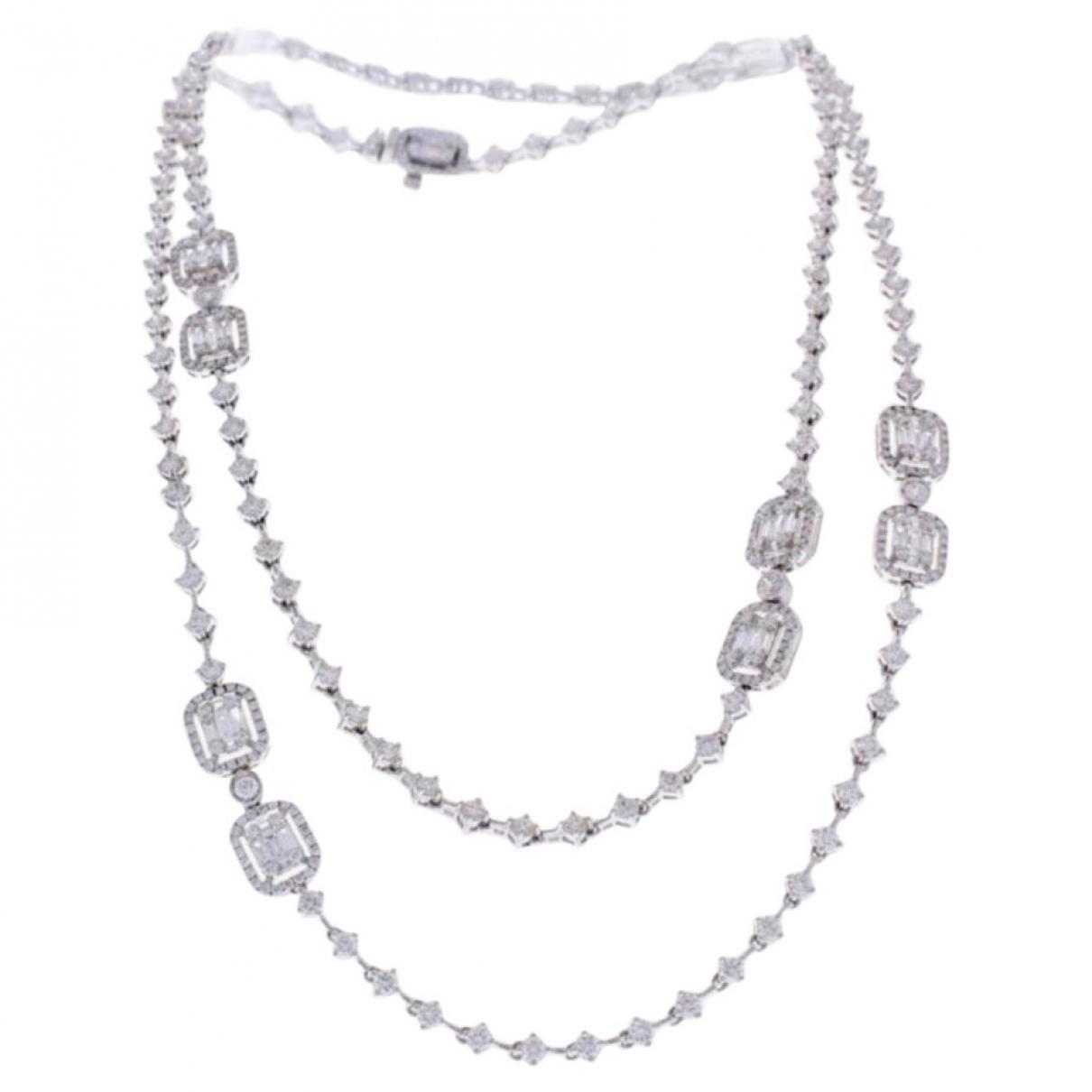 - Sautoir Chaines pour femme en or blanc - blanc