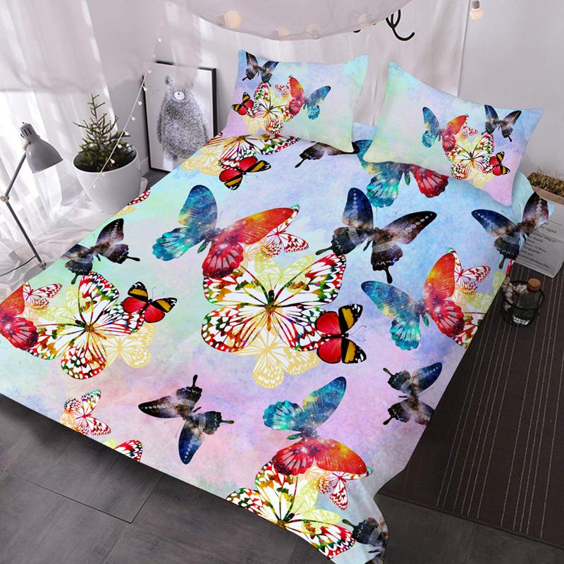 Colourful Butterflies 3Pcs Microfiber No-Fading Comforter Set 3D Soft Lightweight Comforter with 2 Pillowcases