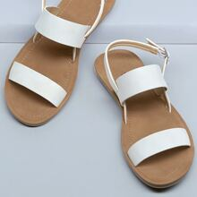 Two Band Open Toe Heel Strap Sandals