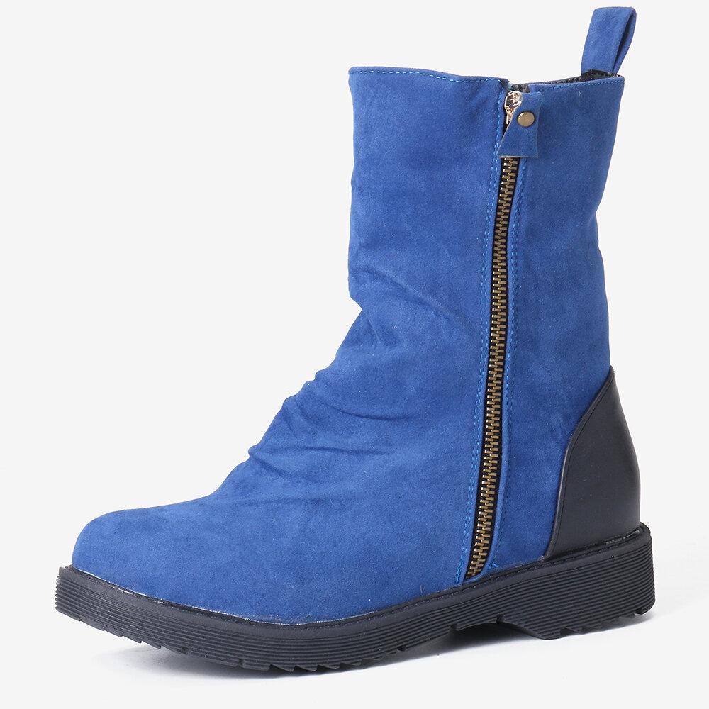 Women Plus Size Soild Color Non Slip Side Zipper Flat Short Boots
