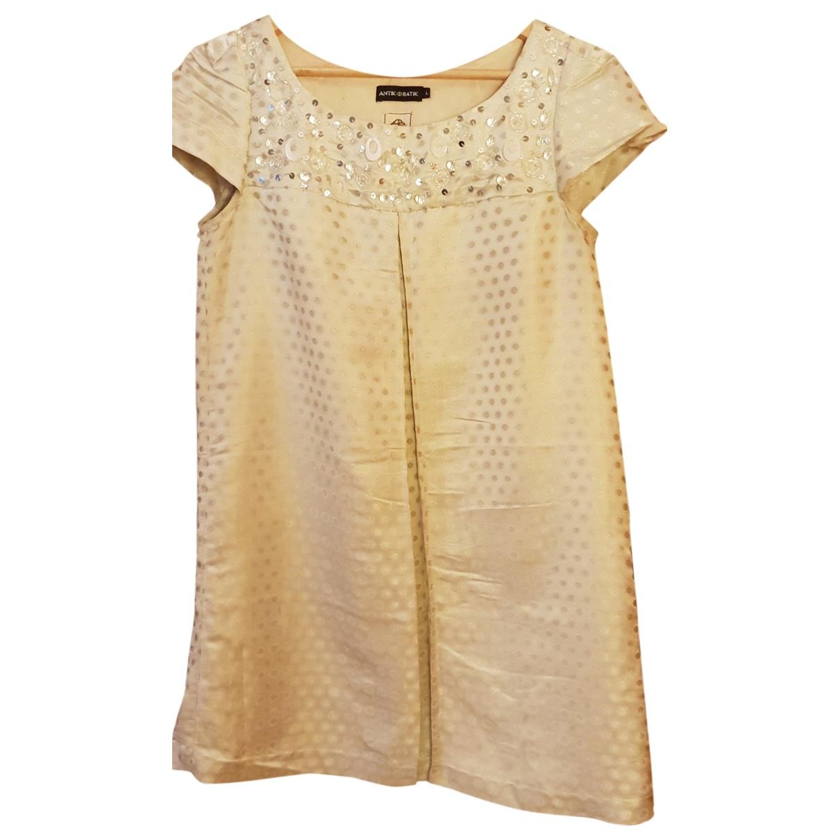 Antik Batik \N Kleid in  Weiss Seide