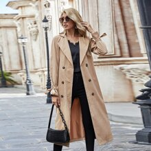 Lapel Collar Double Breasted Belted Trench Coat