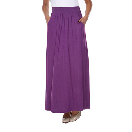 White Mark Womens Mid Rise Stretch Maxi Skirt, Small , Purple